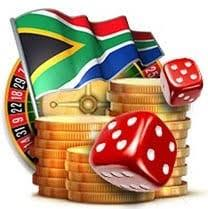 Dice and roulette with coins and the South African flag.